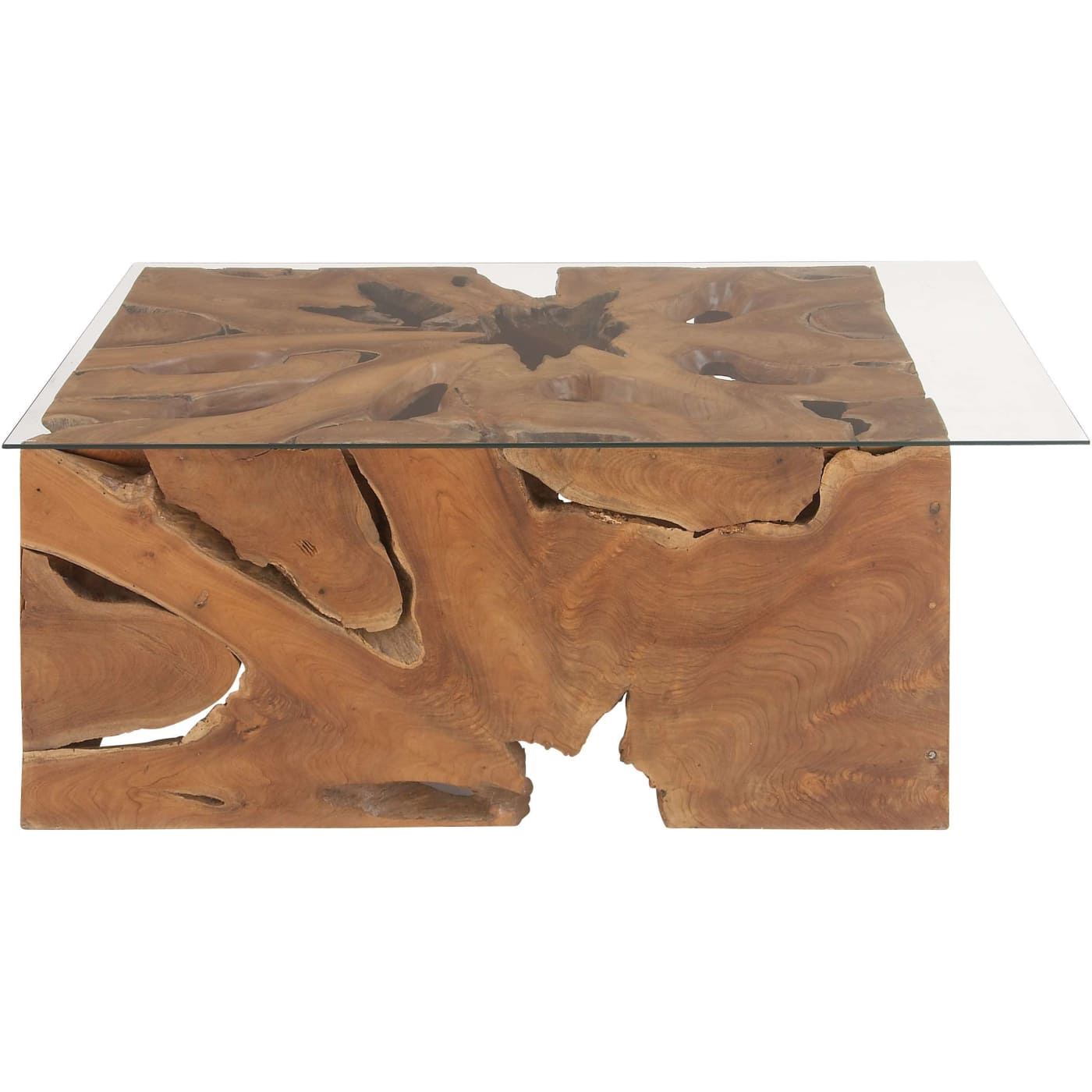 Dec Mode Collection Modern Reflections Teak Glass Coffee Table 43