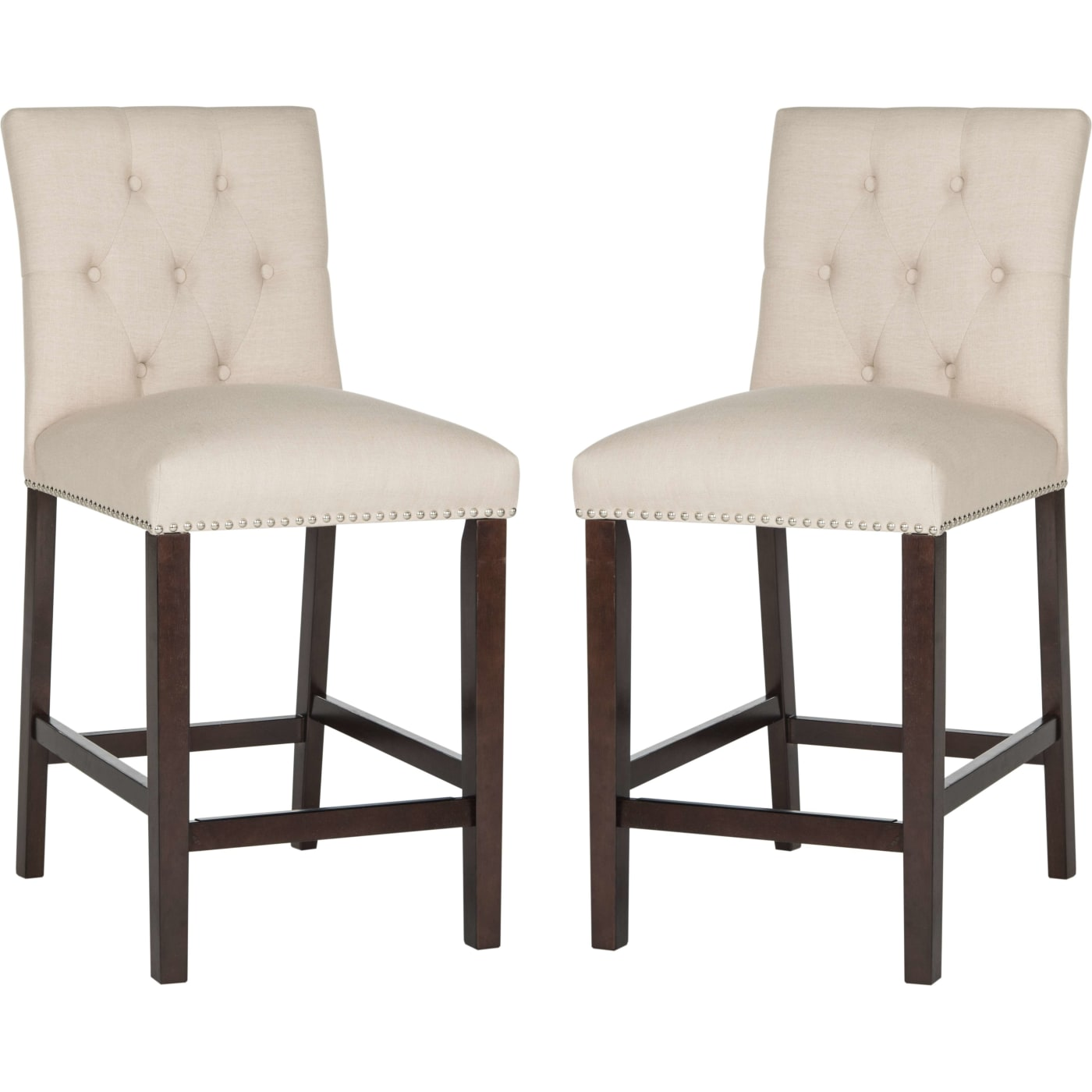 Safavieh Norah Beige Amp Espresso Counter Stool Set Of 2