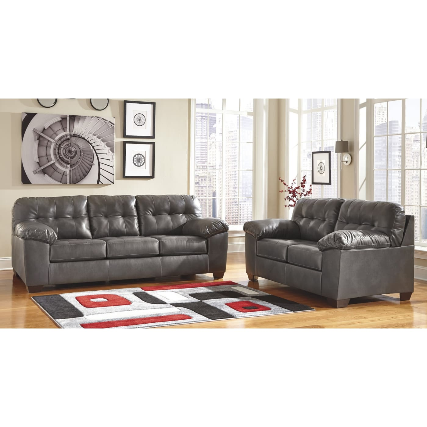 Signature Design By Ashley Alliston DuraBlend Gray 2 Piece Living Room Set  U0026 Reviews   Goedekers.com