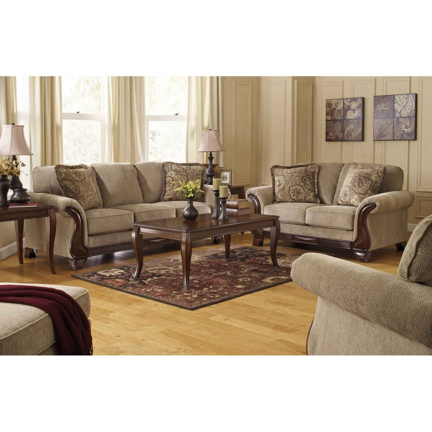 Ashley Furniture 14 Piece Package: Signature Design By Ashley Lanett Barley 4 Piece Living