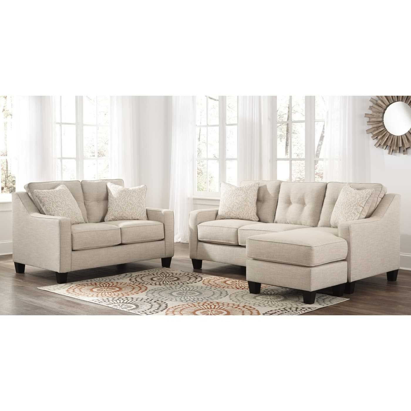 Signature Design by Ashley Aldie Nuvella Sand 2 Piece Living Room ...