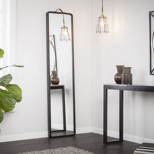 Holly Martin Black Brown Lawson Floor Leaning Full Length Mirror