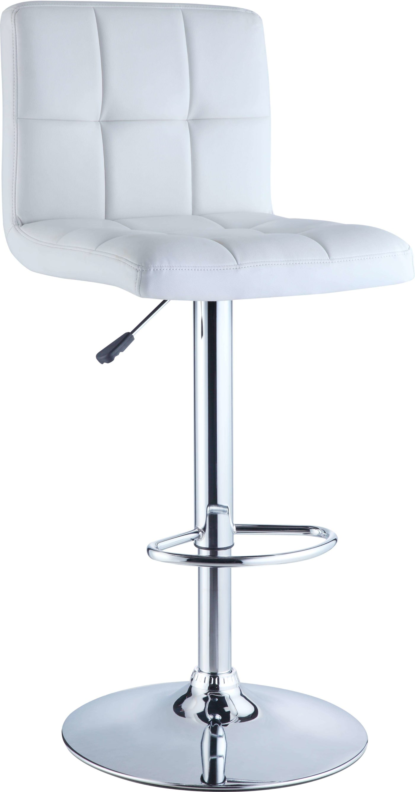 Powell White Quilted Faux Leather And Chrome Adjustable