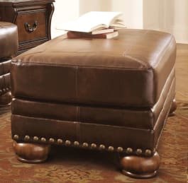 Signature Design by Ashley 9920014 Chaling Durablend Antique Brown Ottoman