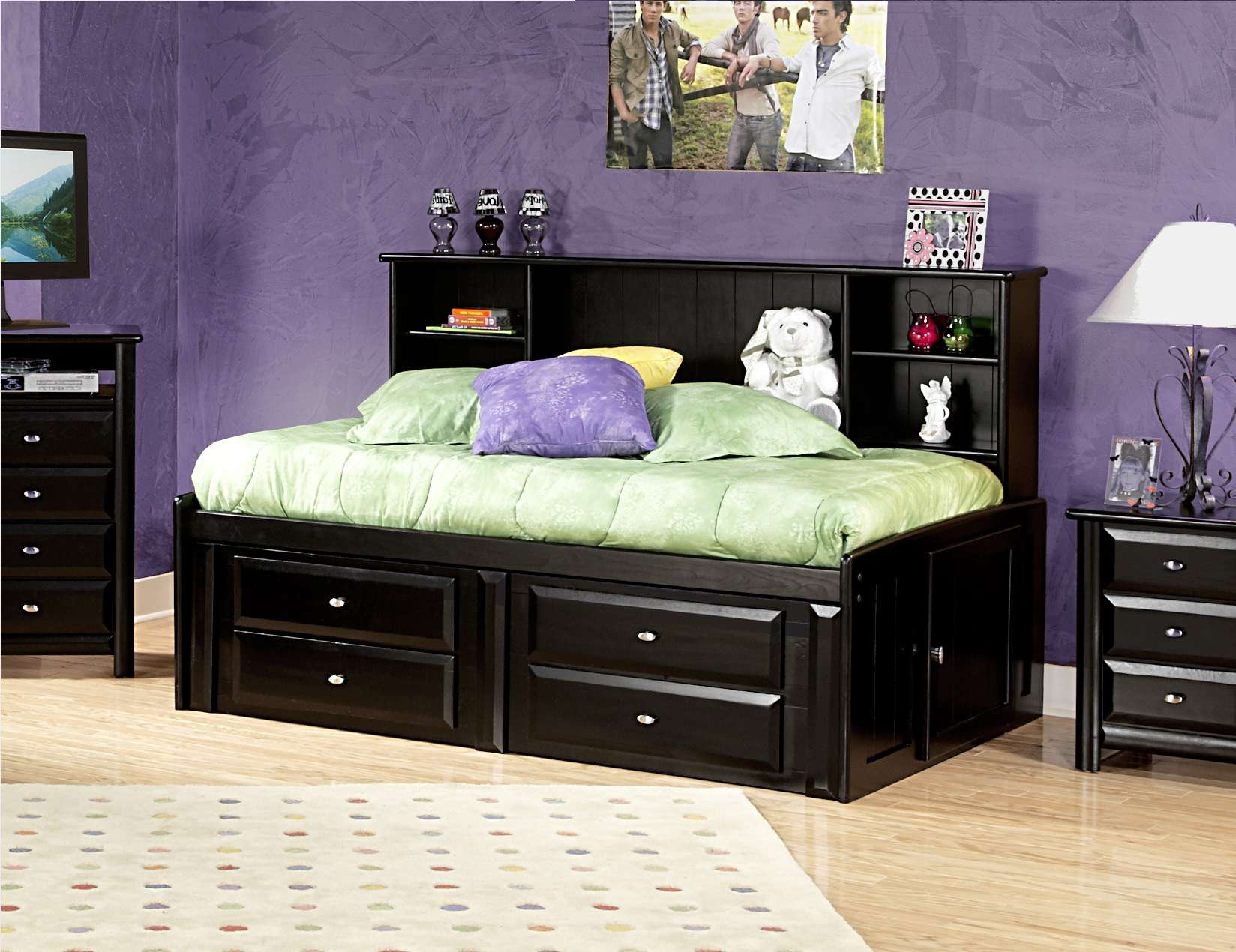 Chelsea Home Black Cherry Twin Storage Bed With Bookcase Headboard Reviews Goedekers Com