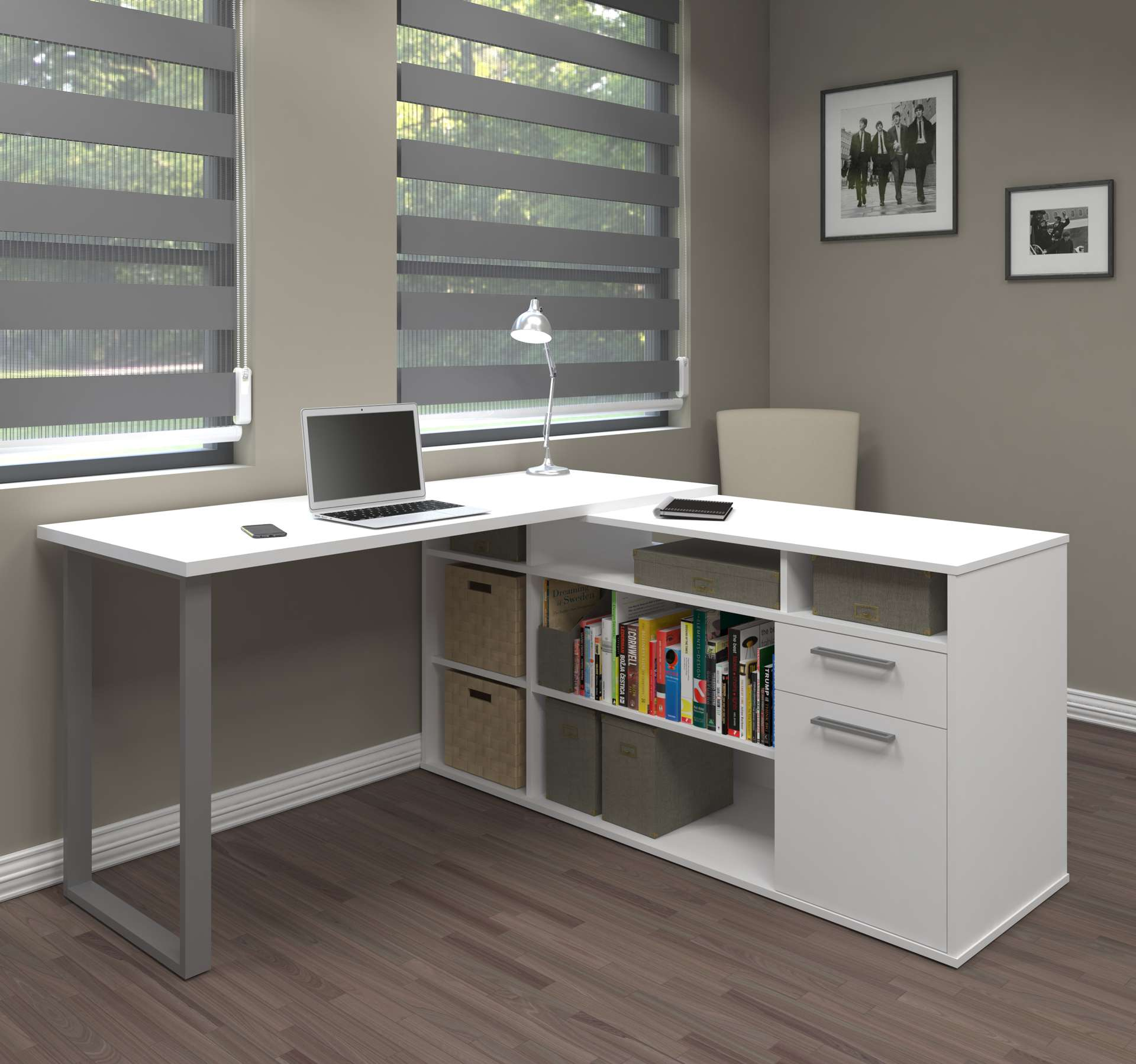 Solay L Shaped Desk In White
