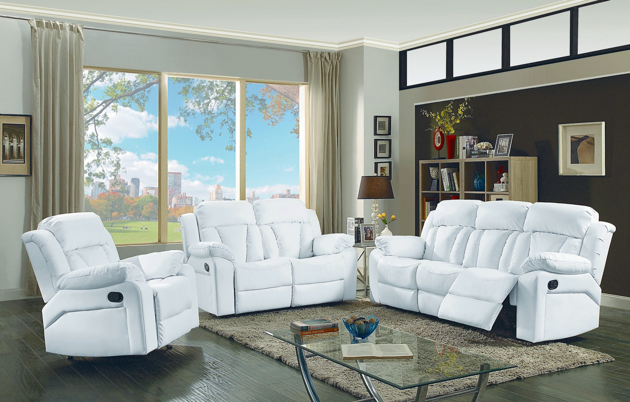 Glory Springfield White Faux Leather Reclining 3-Piece Living Room Set &  Reviews - Goedekers.com