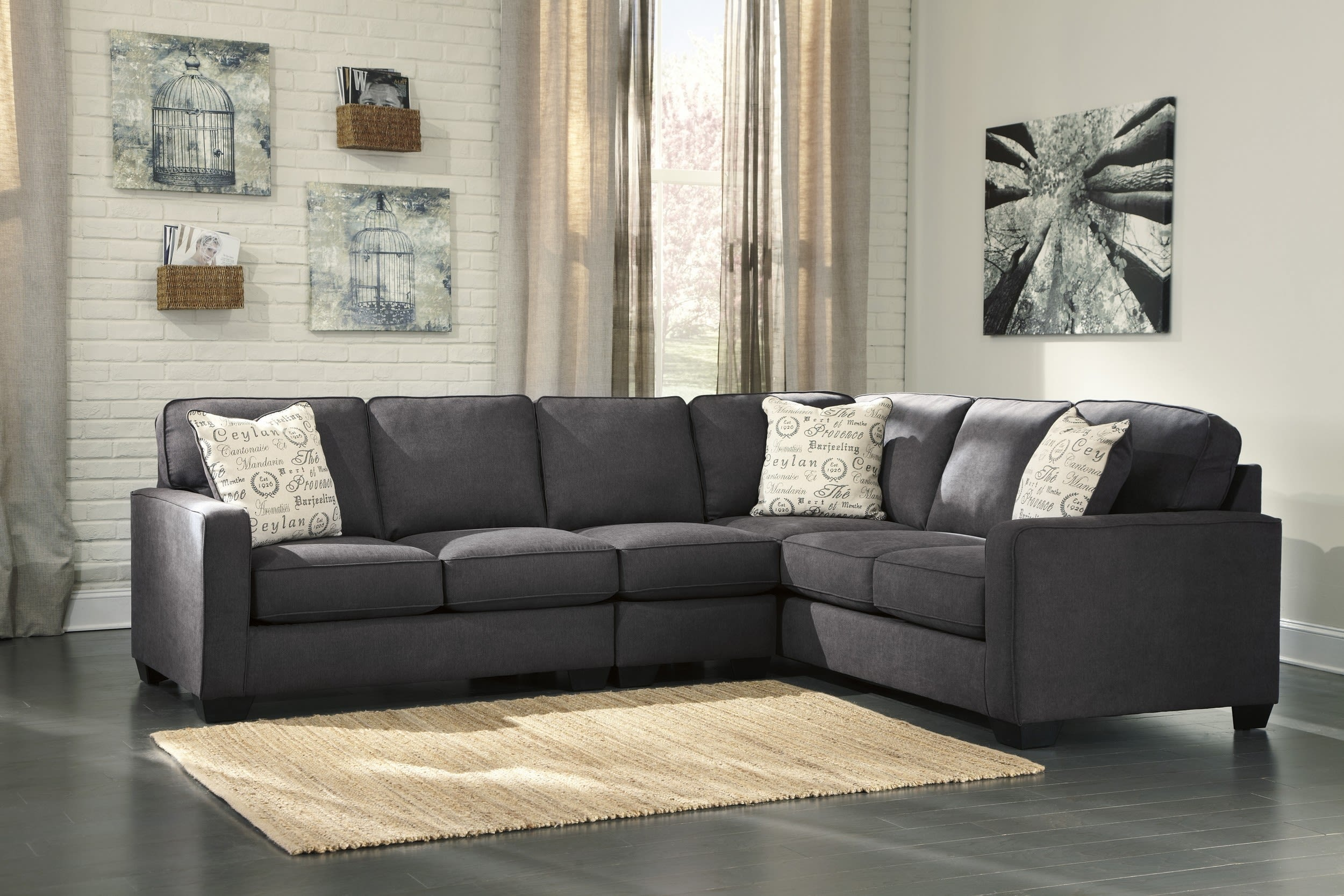 Alenya Charcoal 3 Piece Sectional Sofa Set