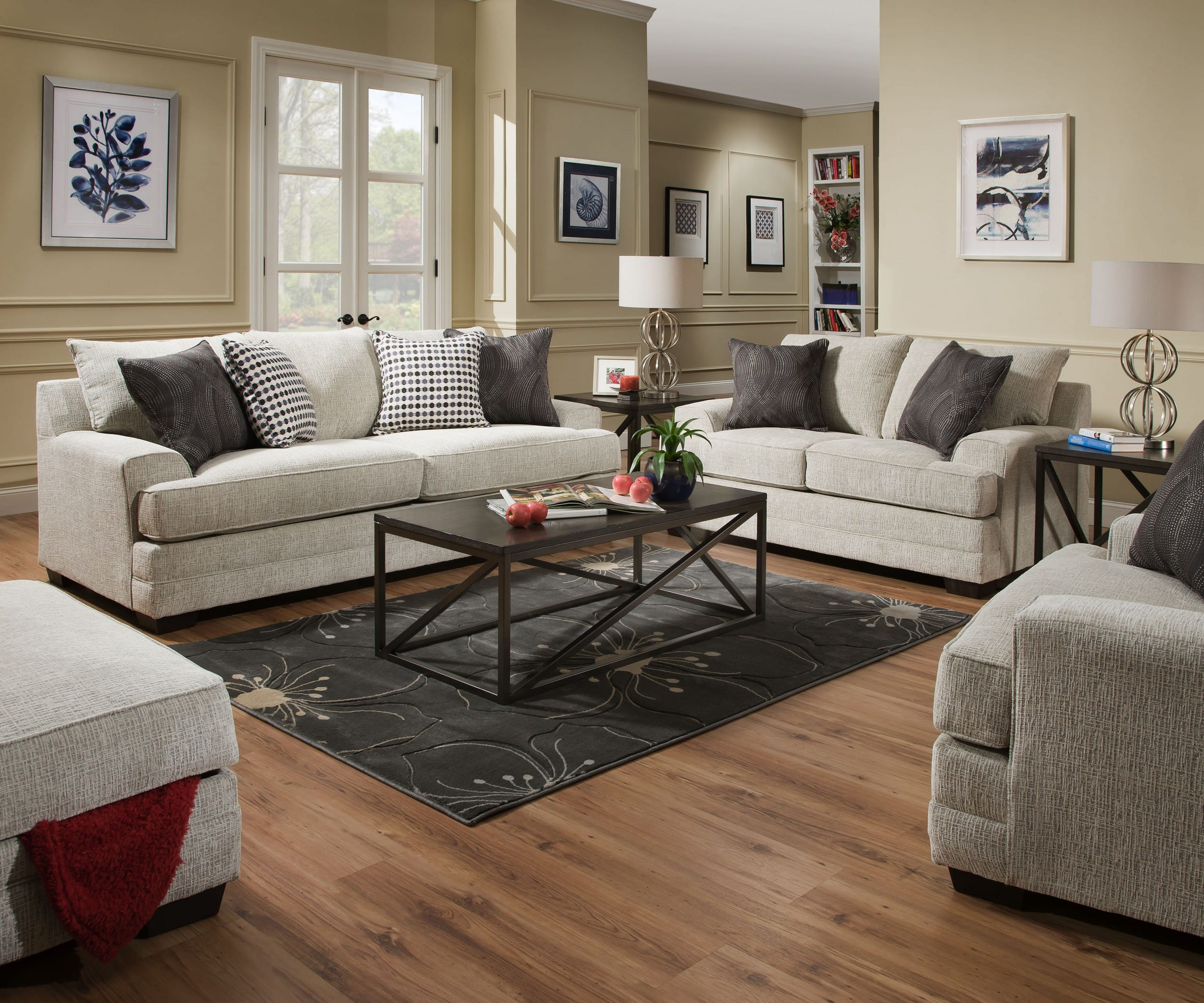 Simmons Upholstery Drillon Driftwood 3-Piece Living Room Set with ...