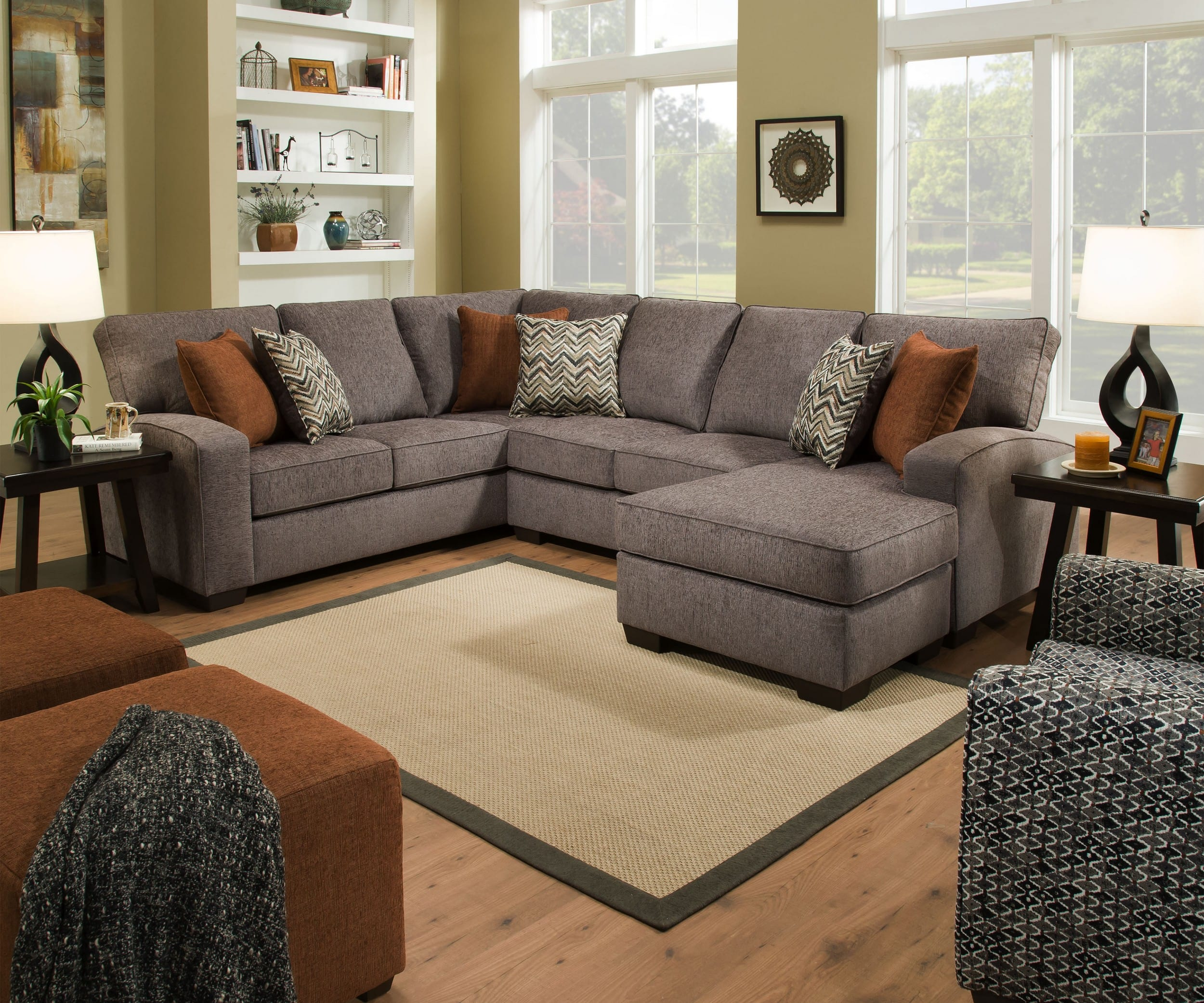 Simmons Upholstery Endurance Shadow 2-Piece Sectional Sofa with ...