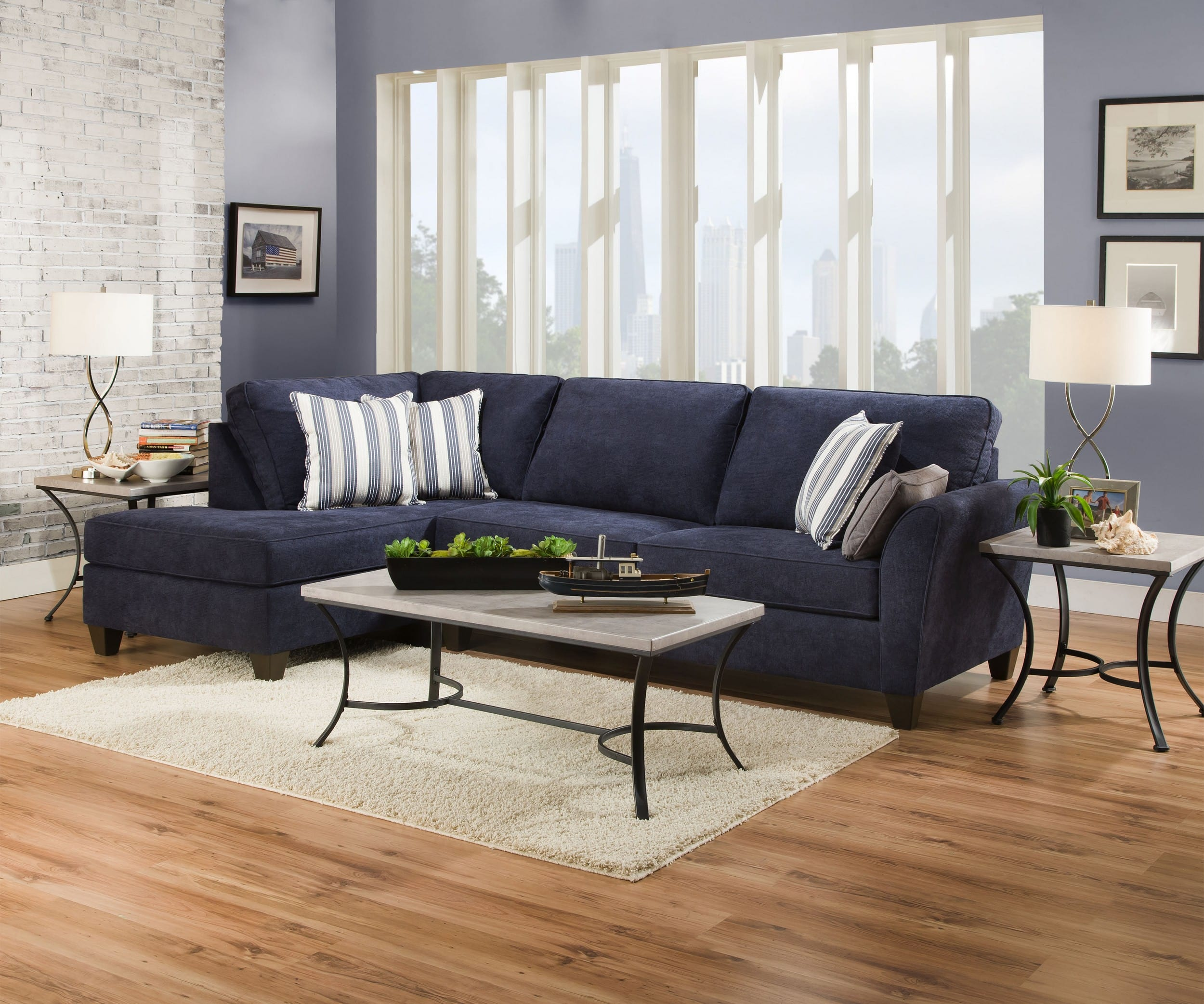Simmons Upholstery Prelude Navy 2 Piece Sectional Sofa With Chaise