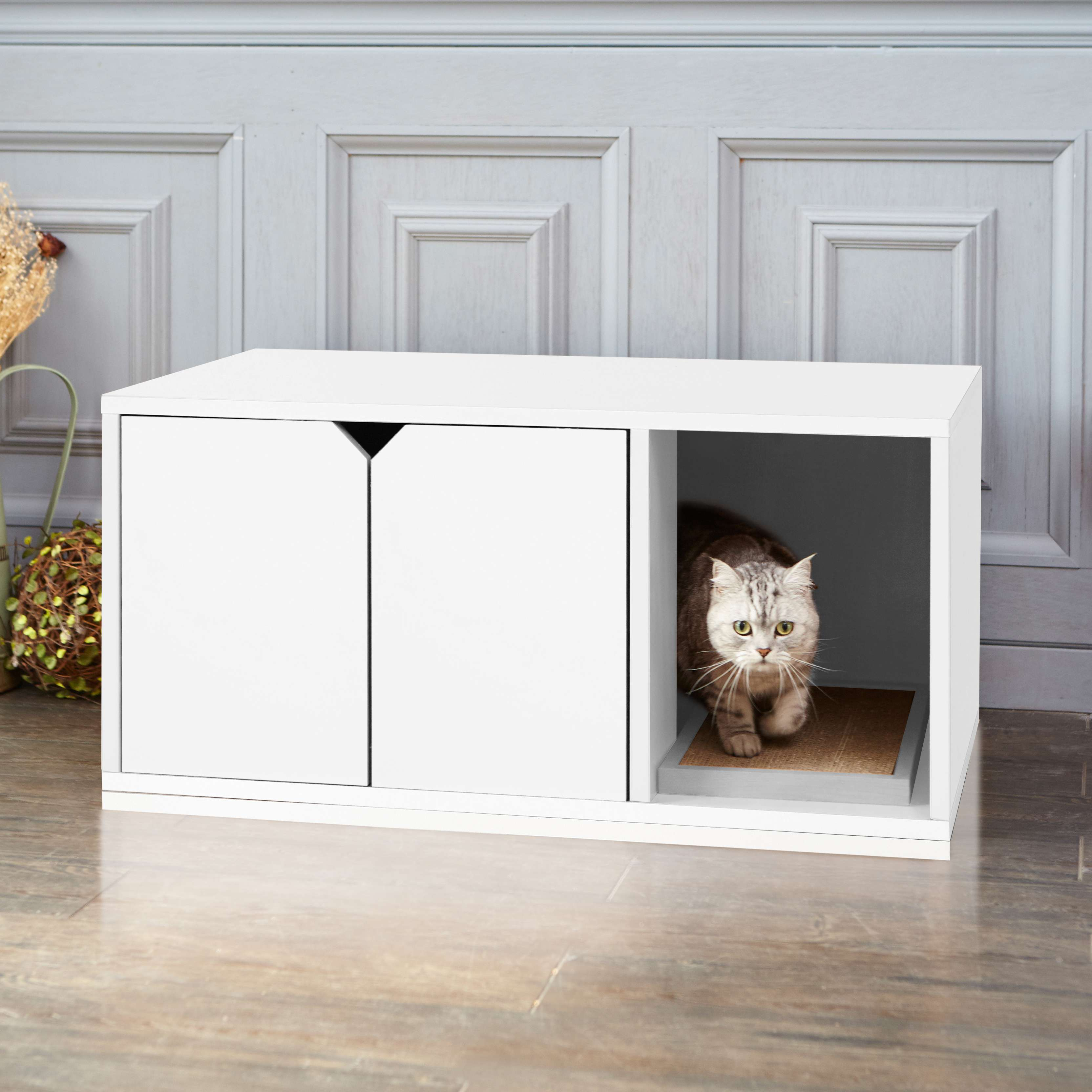 Modern White Cat Litter Cabinet With Scratch Pad