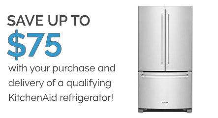 SAVE ON KITCHENAID REFRIGERATOR DELIVERY -- SAVE UP TO $75!!!