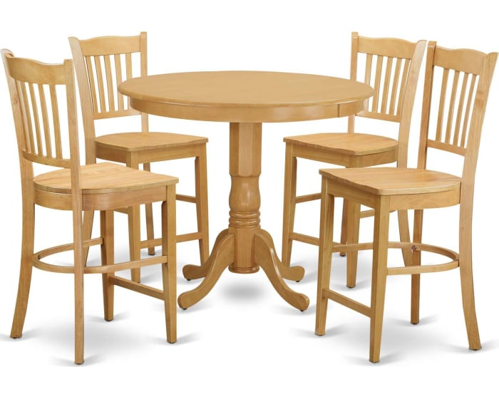 East West Furniture Trenton 5 Piece Counter Height Dining Table Set High Top Table And 4 Bar Stools Trgr5 Oak W Goedekers Com