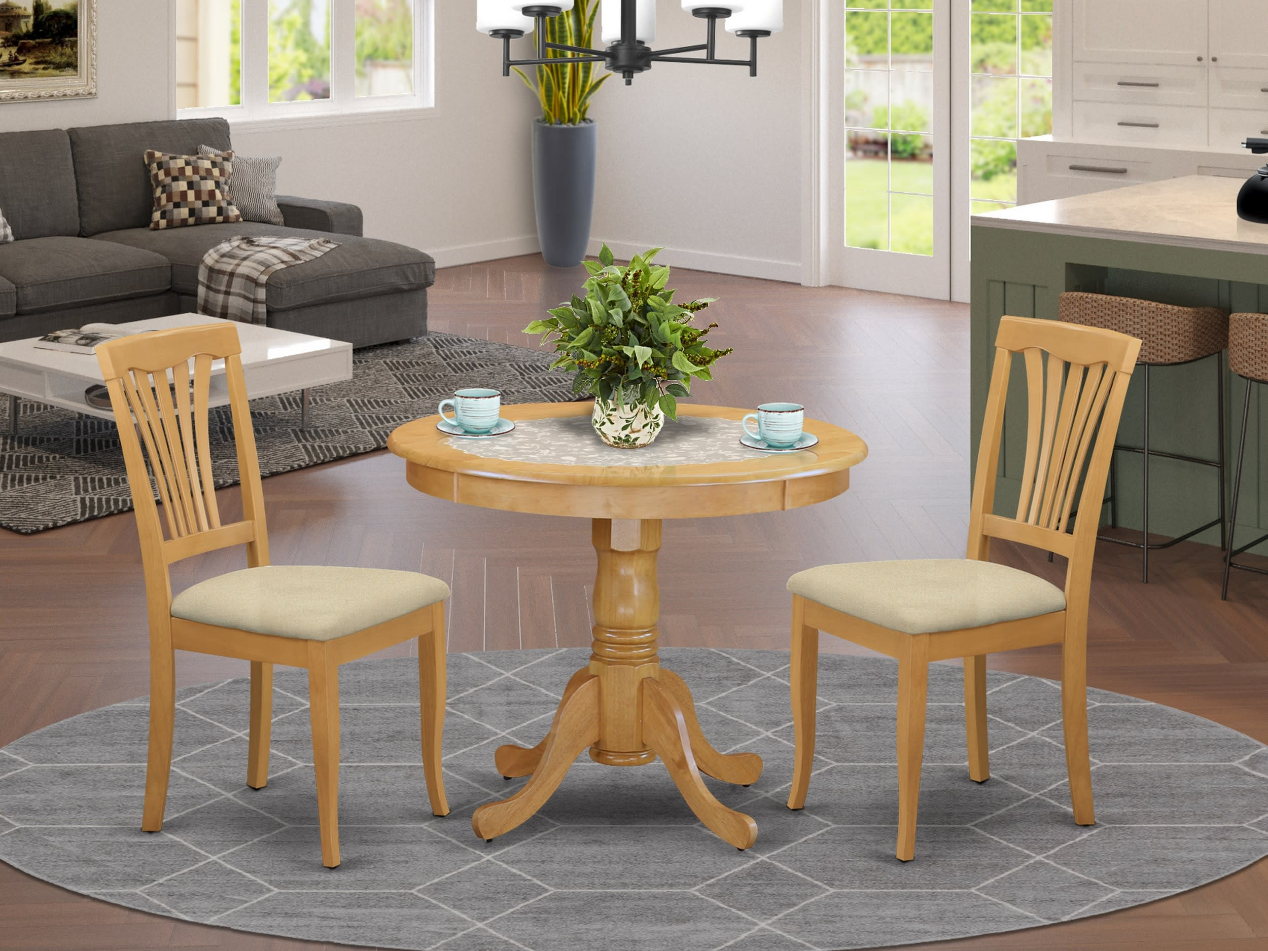 East West Furniture Antique 3 Piece Small Kitchen Table And Chairs Set Small Table And 2 Dining Room Chairs Anav3 Oak C Goedekers Com