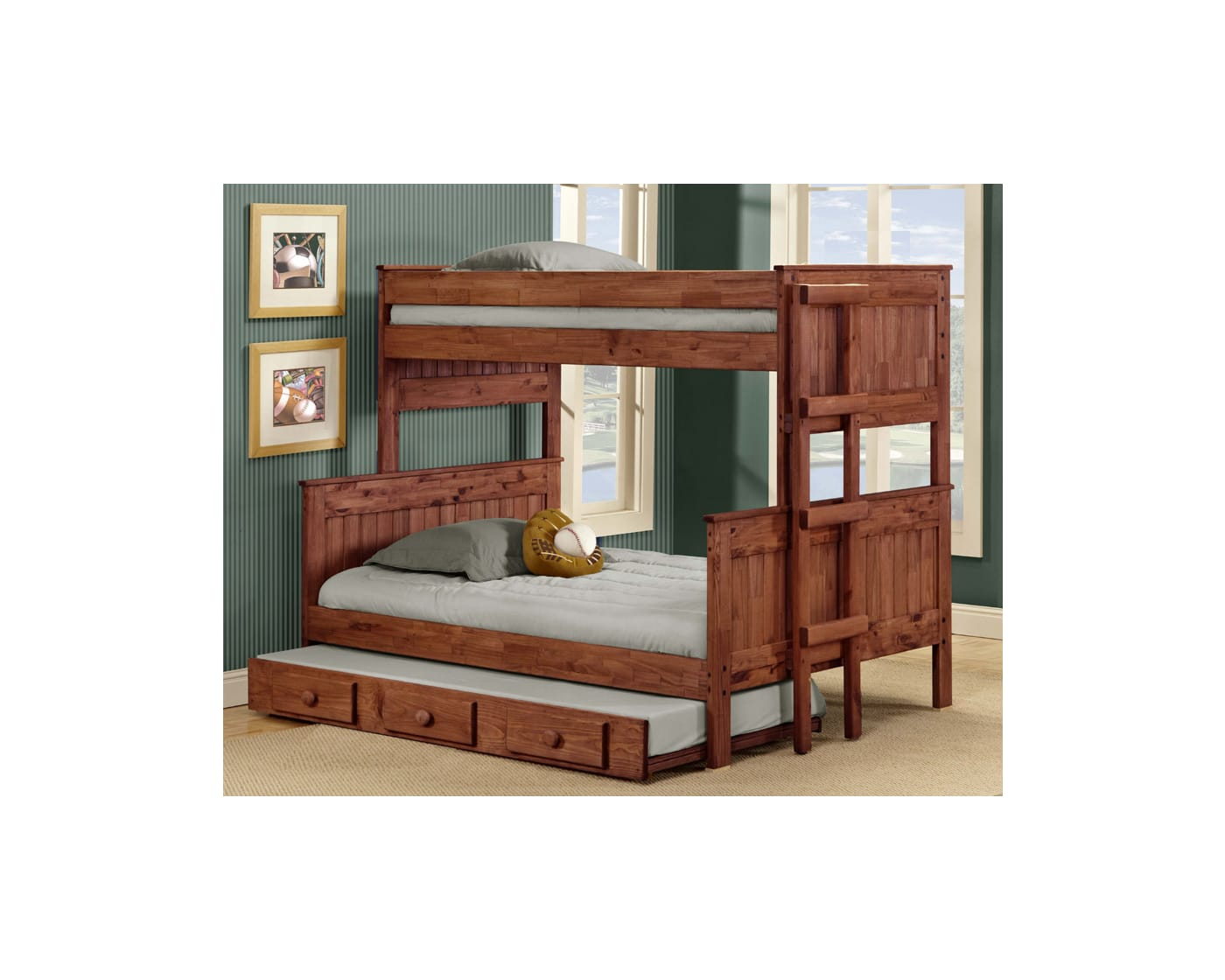 Chelsea Home Mahogany Twin Full Stackable Bunk Bed With Trundle 31mah4019 Goedekers Com