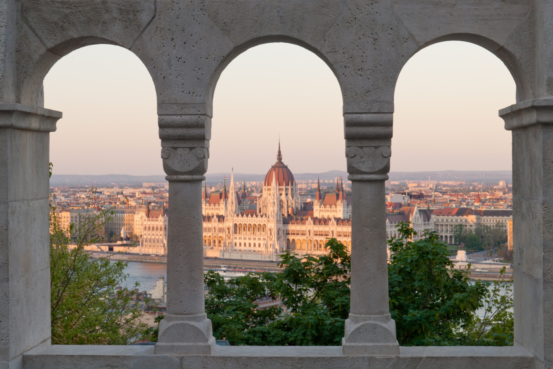 View of the Hungarian Parliament from a Hillside in Budapest