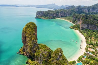 Aerial View of the Turquoise Beaches in Krabi Thailand