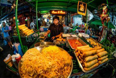 Bangkok Street Food Vendor Selling at Night Market