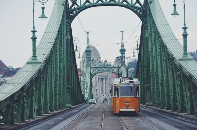 A Tram Crossing a Bridge in Budapest