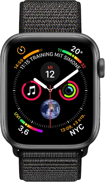 Space Grau / Schwarz Sport Loop Apple Watch Series 4 GPS + Cellular, 44mm.1