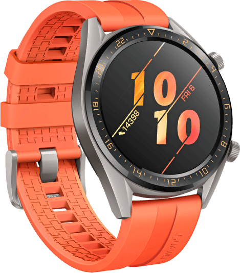 Orange Huawei Watch GT Active, 46mm Stainless steel case, Fluororubber band.2