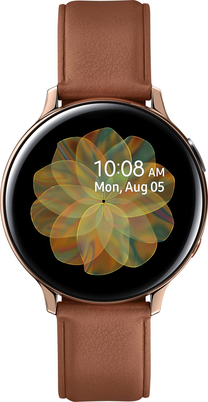 Gold Samsung Galaxy Watch Active2 (LTE), 44-mm-Edelstahlgehäuse, Lederarmband.1