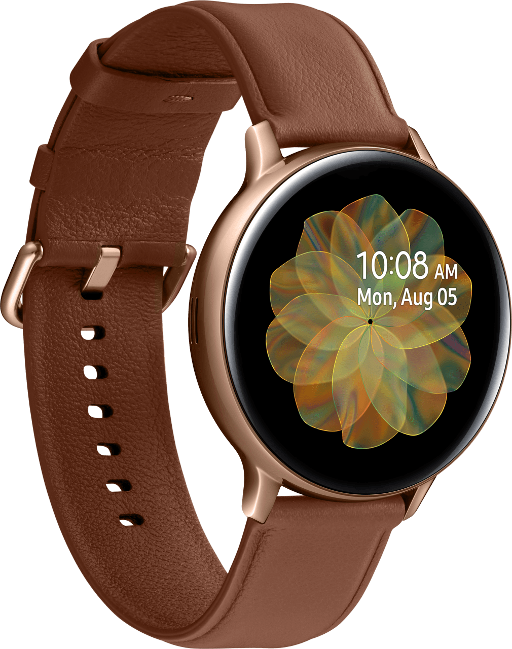 Gold Samsung Galaxy Watch Active2 (LTE), 44-mm-Edelstahlgehäuse, Lederarmband.2