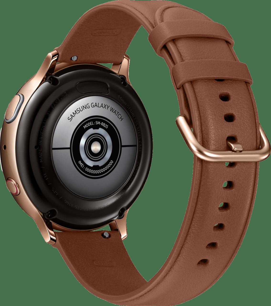 Gold Samsung Galaxy Watch Active2 (LTE), 44-mm-Edelstahlgehäuse, Lederarmband.3