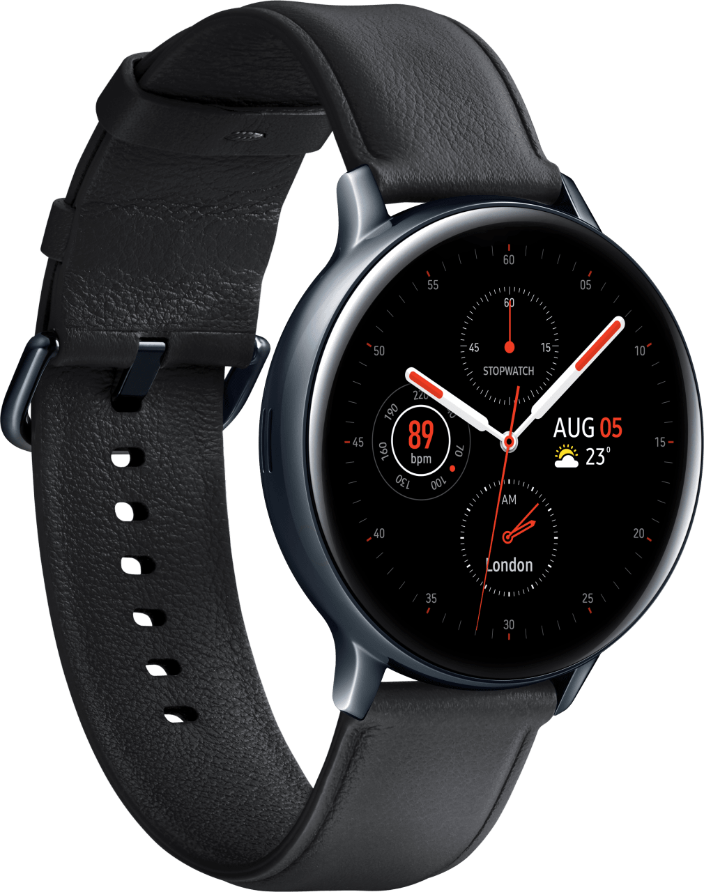 Black Samsung Galaxy Watch Active2, 44mm Stainless steel case, Leather band.2
