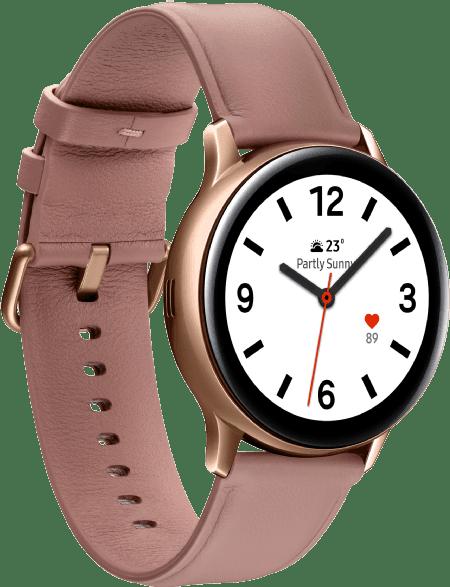 Gold Samsung Galaxy Watch Active2, 40-mm-Edelstahlgehäuse, Lederarmband.2