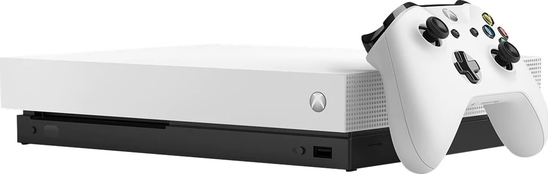 White Microsoft Xbox One X.1