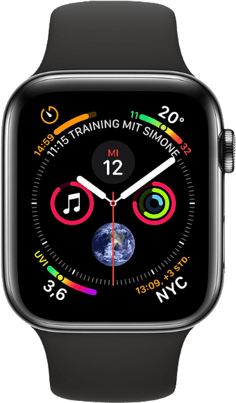 Black & Black Apple Watch Series 4 GPS + Cellular, 44mm Stainless steel case, Sport loop / band.1