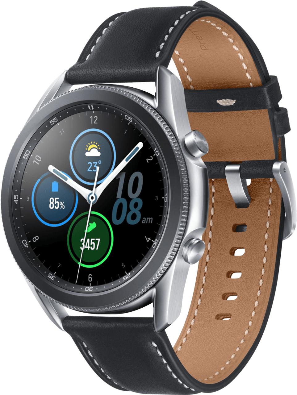 Mystic Zilver Samsung Galaxy Watch3, 45mm Stainless steel case, Real leather band.1