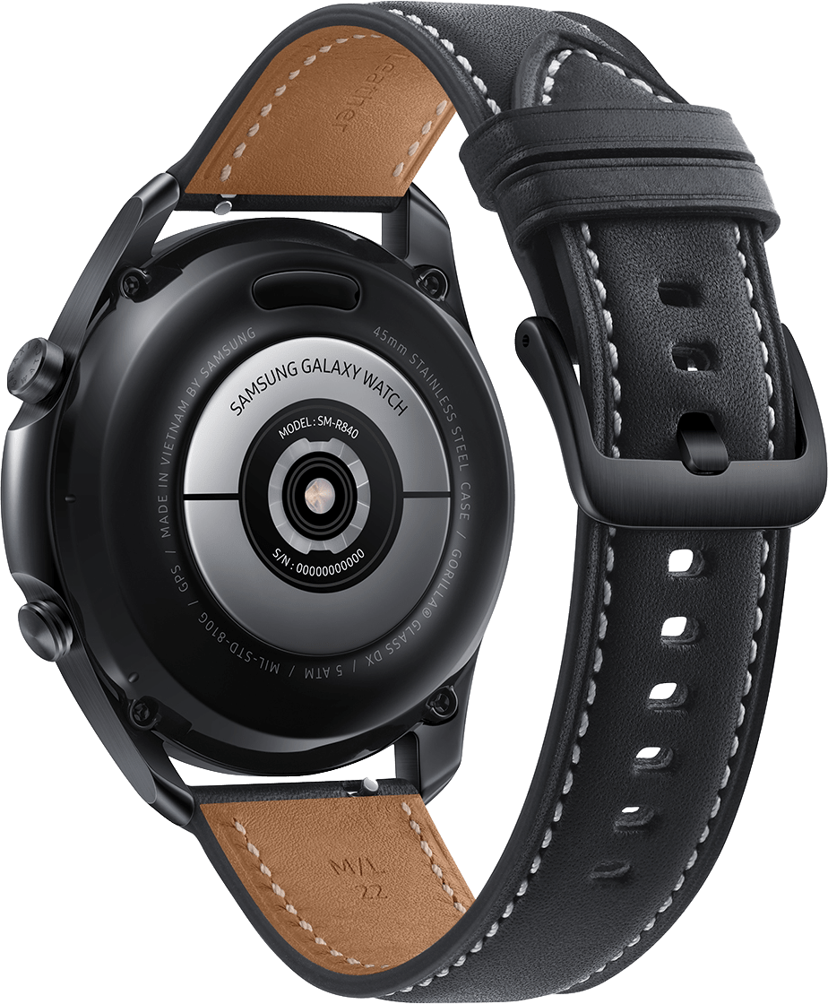 Mystic Black Samsung Galaxy Watch 3 (LTE), 45mm Stainless steel case, Real leather band.4