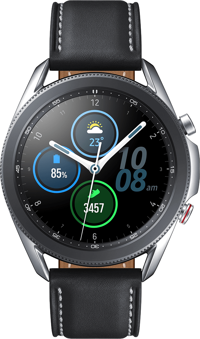 Mystic Silver Samsung Galaxy Watch 3 (LTE), 45mm Stainless steel case, Real leather band.2