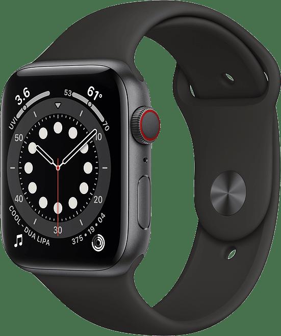 Schwarz Apple Watch Serie 6 GPS + Cellular, 40 mm Aluminium-Gehäuse, Sportarmband.1