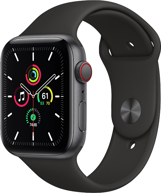 Black Apple Watch SE GPS + Cellular, 44mm.1