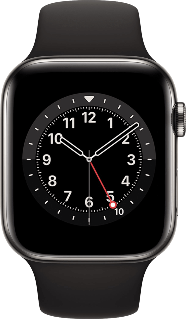 Black Apple Watch Series 6 GPS + Cellular , 44mm Stainless steel case, Sport band.2