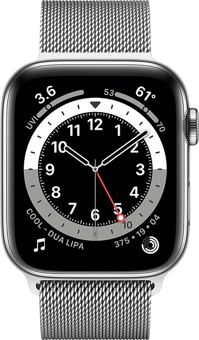 Silver Apple Watch Series 6 GPS + Cellular , 44mm Stainless steel case, Milanaise Loop.2