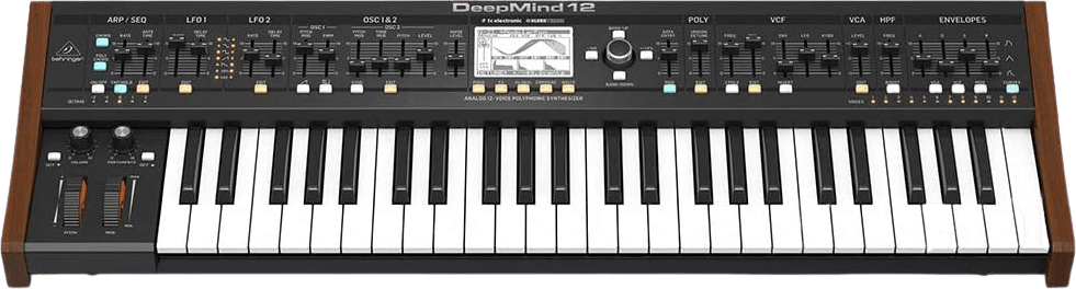 Black Behringer Deepmind 12 voice analog synthesizer.1