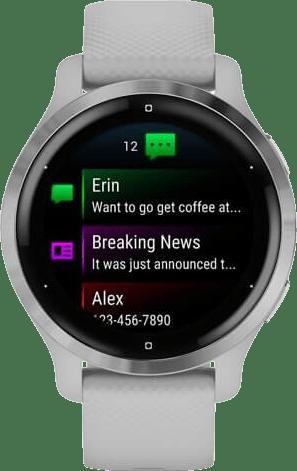 Light Gray / Silver Garmin Venu 2S Smartwatch, 40mm Fiber reinforced polymer case & sport band.2