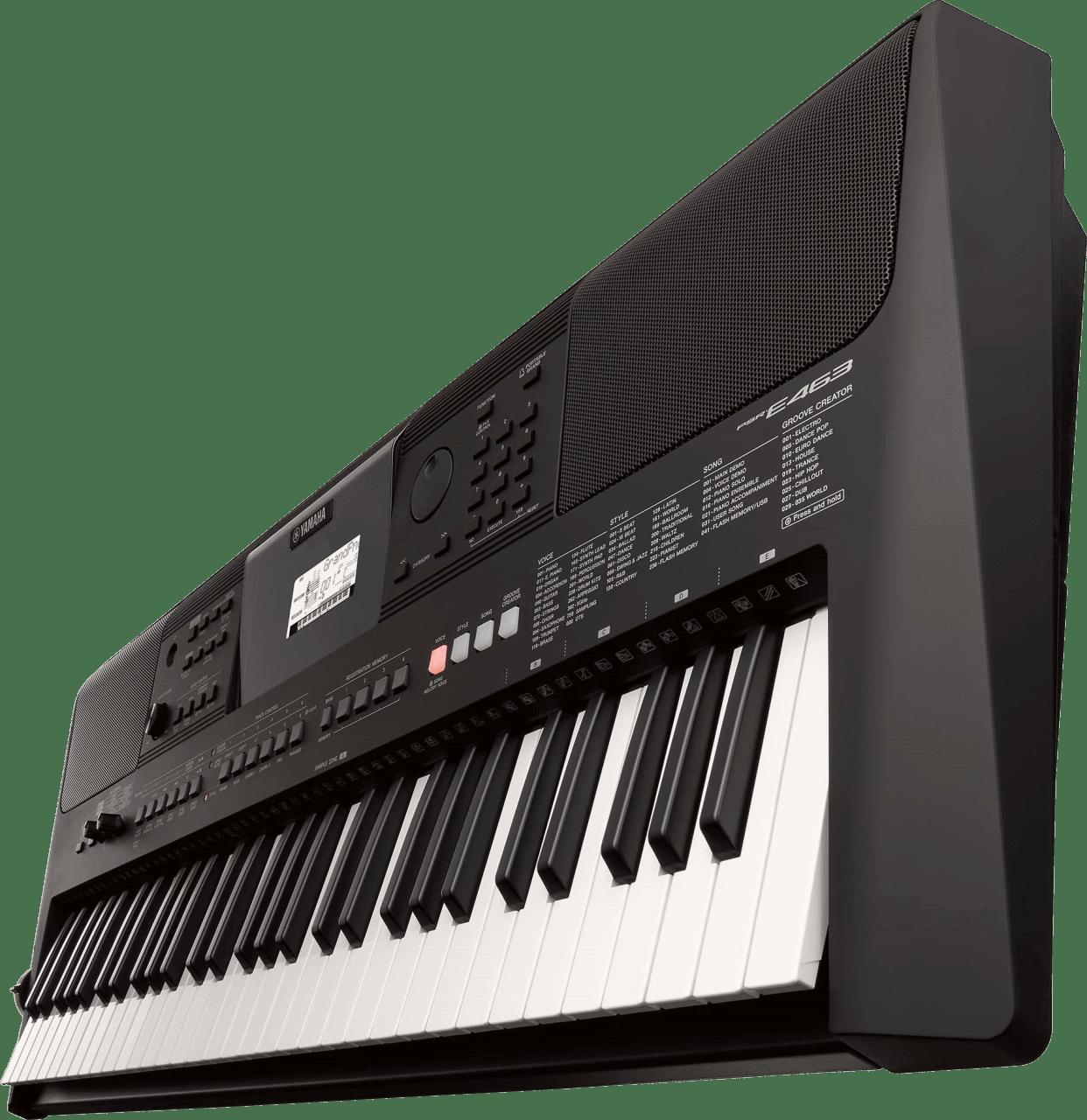 Schwarz Yamaha PSR-E463 Tragbares Keyboard mit 61 Tasten.4