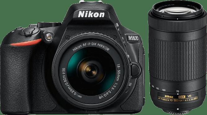 Black Nikon D5600 Camera Kit AF-P DX + 18-55mm VR and 70-300mm VR lenses.1