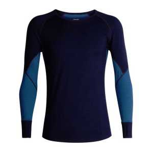 Icebreaker BodtFitZone 260 Zone Long Sleeve Crewe - Midnight Navy/Prussian Blue/Chilli Red