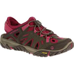 Merrell Womens All Out Blaze Sieve Walking Sandal - Boulder/Fuchsia