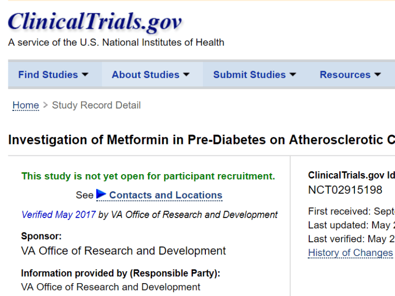 Clinical research study: Pre-Diabetes and Cardiovas Outcomes