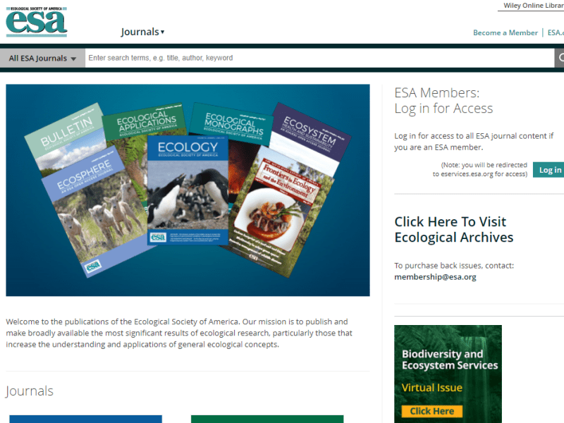 Ecological Society of America Hub Site and Apps