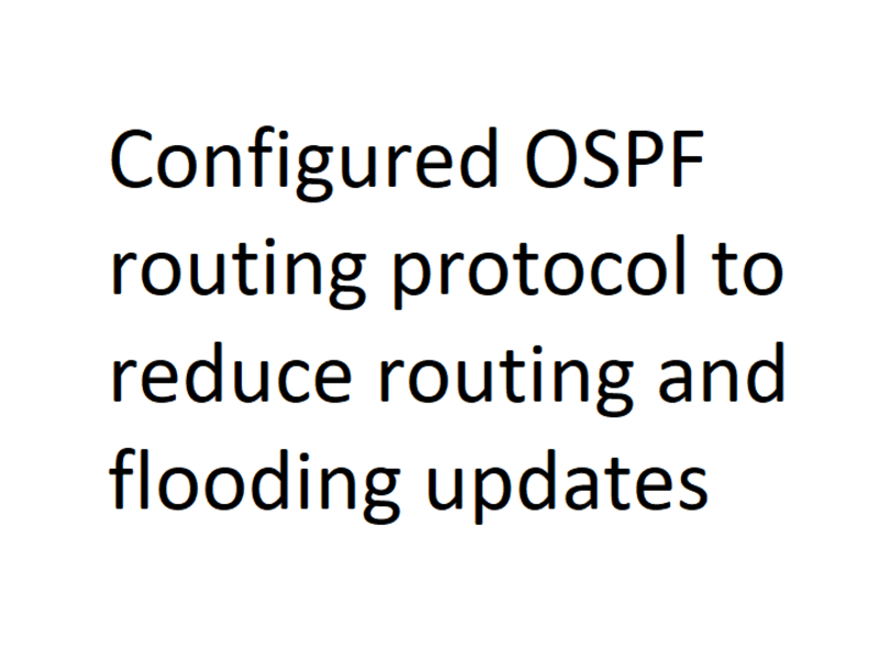 Configured OSPF routing protocol to route network traffic