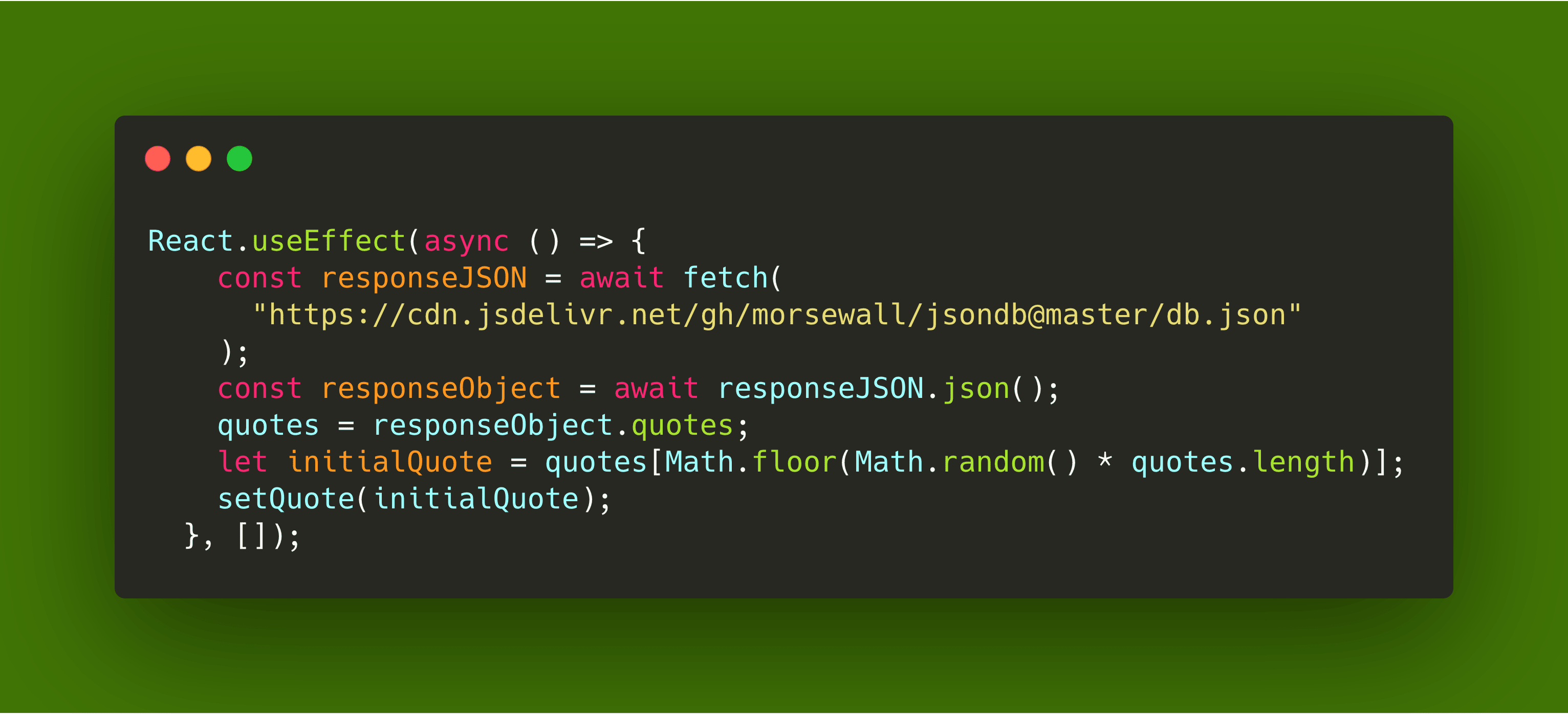Random Quote – Part 9 – React Hooks and JSON: Using various front end stacks